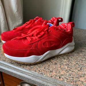 Champion red suede sneakers